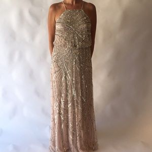 Adrianna Papell Beaded Halter Gown with Train